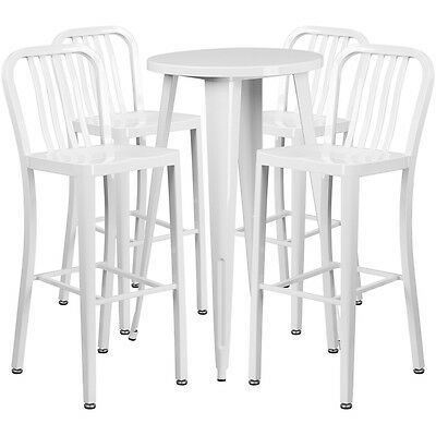 24'' Round White Metal Indoor-Outdoor Bar Table Set With 4 Barstools