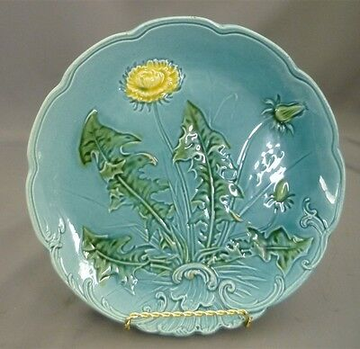 """Antique Turquoise Majolica Flower Leaf Scroll Polychrome Monochrome Plate 8 1/2"""""""