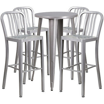 24'' Round Silver Metal Indoor-Outdoor Bar Table Set With 4 Barstools
