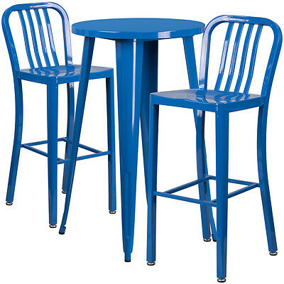 24'' Round Blue Metal Indoor-Outdoor Bar Table Set With 2 Barstools
