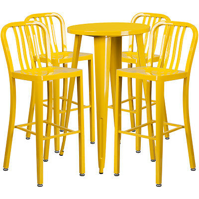 24'' Round Yellow Metal Indoor-Outdoor Bar Table Set With 4 Barstools
