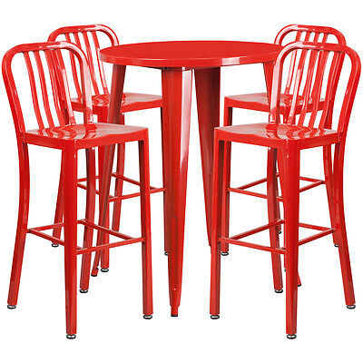 30'' Round Red Metal Indoor-Outdoor Bar Table Set With 4 Barstools