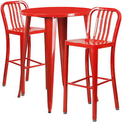 30'' Round Red Metal Indoor-Outdoor Bar Table Set With 2 Barstools