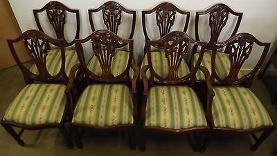 Antique Style Reproduction Set Of Eight Mahogany Shield-Backed Dining Chairs