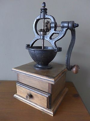 Vintage Wooden Coffee Grinder with Drawer Shabby Retro Shop Pub Collector