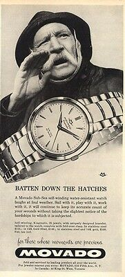 1960 Movado Kingmatic Sub-Sea Watch Fisherman PRINT AD