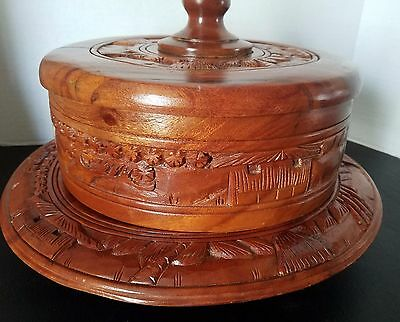 Vintage Mid-Century Carved Wooden Teak? Cake Plate With Cover Carved Design