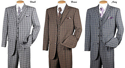 New Men's High Fashion 3 Buttons Plaid Checker Design Suits with Vest and Pants