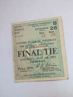 FA CUP FINAL Ticket 1953 Blackpool v Bolton Wanderers VGC