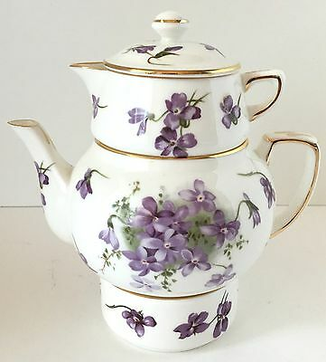 Hammersley Stackable Teapot for One/Victorian Violets from England's Countryside