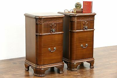 Pair of Traditional 1940's Vintage Carved Mahogany Nightstands