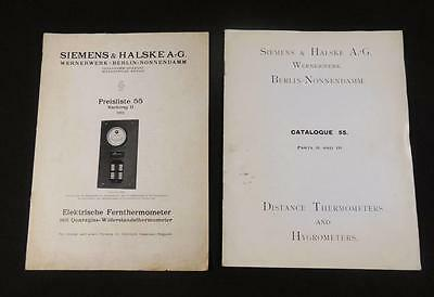 2 Vtg 1912 SIEMENS & HALSKE Electric Remote Distance THERMOMETER HYGRO Brochures