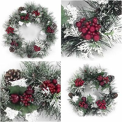 """19"""" or 12"""" Christmas Wreath Decorations Artificial With Berry Pine Cones & Snow"""