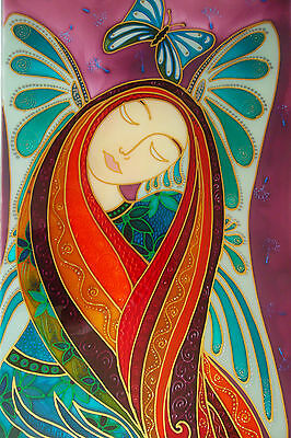"""""""Garden Fairy""""  Unique Stained glass style hand painted toughened glass panel ."""
