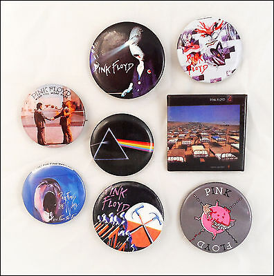 Pink Floyd Lot Of 8 80's Buttons Pins / Wish You Were Here / The Wall