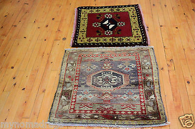 Beautiful 2x2ft c1900-1930s Two Small Antique Cushion Cover Face Rug