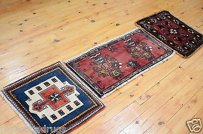 Beautiful 1'7''x1'6'' c1900-1930s 3 Small Antique Cushion Cover Face Rug