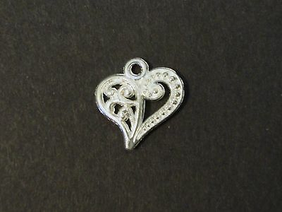 Lot Of 20 Pcs Silver Plated Heart Pendants Charms 13x14mm