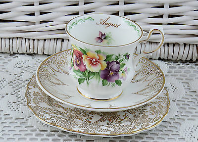 Queens Bone China Mix Match Mismatched Tea Cup Saucer Plate Trio August Pansy