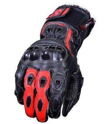 Motorcycle Motorbike Cowhide Leather Glove Carbon Fiber Knuckle Red Sport Racing
