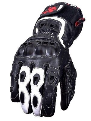 New Motorcycle Motorbike Cowhide Leather Hard Knuckle Glove Sports Racing White