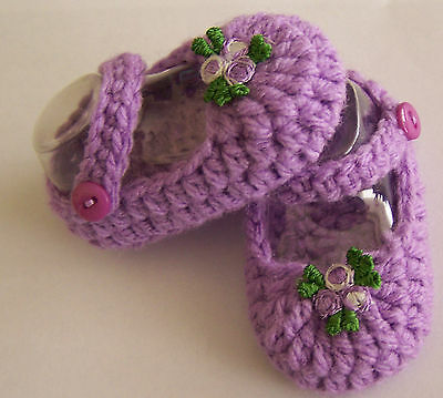 Mauve/flower Mary Jane booties/shoes/slippers: Dolls Clothes for Baby Born