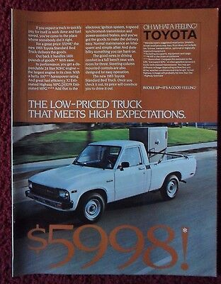 1983 Print Ad Toyota Standard Bed Pickup Truck ~ Meets High Expectations