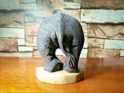 Wooden Ass Elephant Wall Hang Wood Carved Sculpture Home Decor Collection Gift