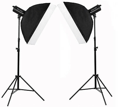 1200W Photography Studio Flash Kit 2 x 600w LED Strobe Lighting set fan MT600 UK