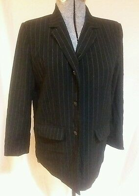 Liz Lange Maternity Suit Coat Black Pinstripe Work Career 10 blazer