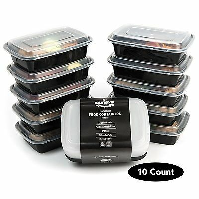 10 Meal Prep Food Containers 1 Compartment BPA Free Plastic Lunch Box with lids
