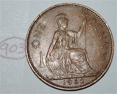 1962 Great Britain 1 Large One Penny UK Coin Nice KM# 897 Lot #903