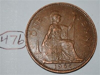 1965 Great Britain 1 Large One Penny UK Coin Nice KM# 897 Lot #476
