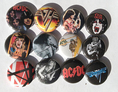 AC/DC Ozzy Osbourne Van Halen Button Pins 80s Rock Metal Retro