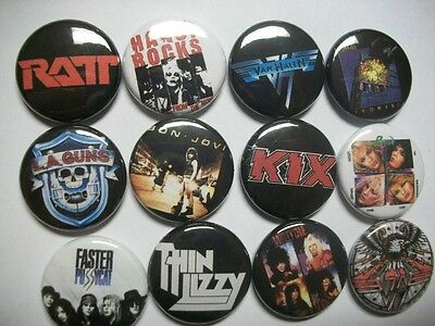 "80s Hair Metal 1"" Button Pins. Ratt Hanoi Rocks Poison Van Halen. Retro"