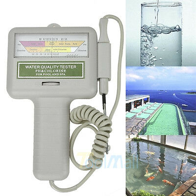 pH CL2 Chlorine Level Meter Water Quality Tester Test Monitor Swimming Pool Spa