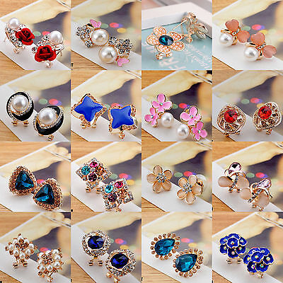 1 Pair Elegant Fashion Women Crystal Rhinestone Flower Ear Stud Earrings Jewelry