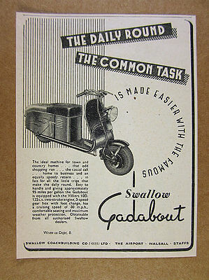 1951 Swallow GADABOUT Scooter UK British vintage print Ad