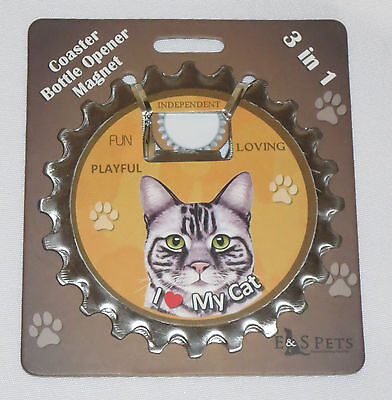 I Love My Cat Silver Tabby Coaster Bottle Opener Magnet 3 in 1 Paw Prints New