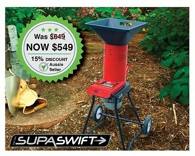 Electric Garden Mulcher with wheels for easy storage and moveability