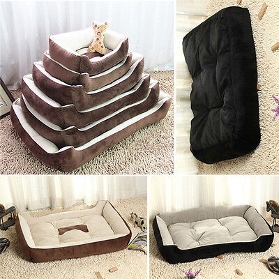 Large/Small Warm Fleece Pet Dog Kennel Cat Puppy Bed Mat Pad House Cushion Comfy