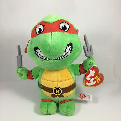"Ty 6"" Beanie Baby Teenage Mutant Ninja Turtles RAPHAEL New w/ Heart Tags MWMT's"