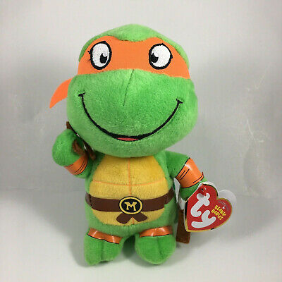 Ty Beanie Baby Teenage Mutant Ninja Turtles MICHELANGELO New Heart Tags MWMT's