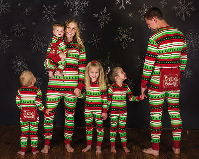 Family Matching Christmas Pajamas Baby Kids Adult Sleepwear Nightwear Outfits