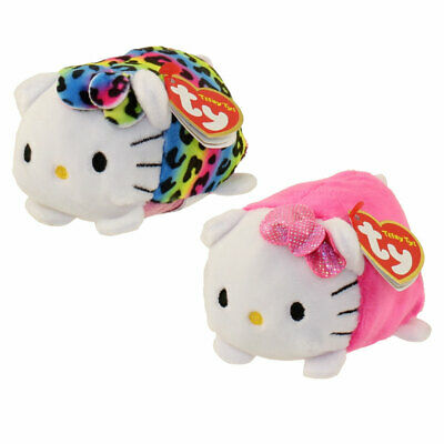 Set of 2 Ty Beanie Teeny Tys HELLO KITTY New w/ Heart Tag MWMT's Stackable Plush