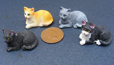 1:12 Scale Laying Resin Cat Dolls House Miniature Pet Animal Accessory FL