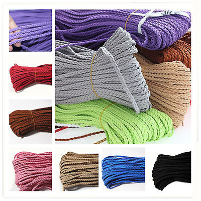 Wholesale 5mm Leather Braided Colorful Thread Jewerly Bracelet DIY Making Cord