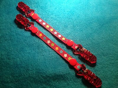 Mitten Gloves Scarf Ski  Keepers/holders Dummy Clips Available Red Stars