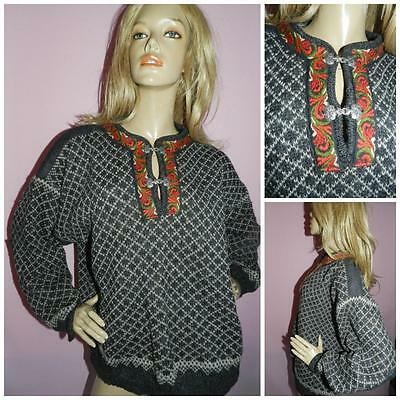 Vtg Oversized Traditional Pure Wool Jumper Sweater M L Xl Metal Clasp Nordic