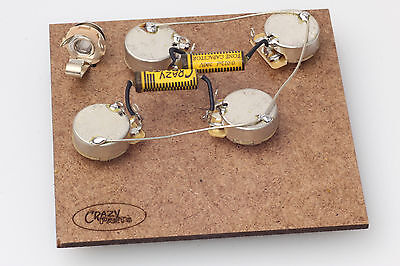 """Prewired Assembly fits Gibson® Les Paul-Crazyparts.022uF PIO Caps/CTS """"TVT"""" Pots"""